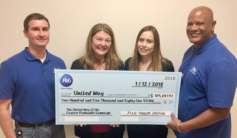 Pictured, from left, are Keith Busby, P&G Site HR Leader, Penny Porter, CEO United Way of the Eastern Panhandle, Heather Polinik, Director of Resource Development & Marketing United Way of the Eastern Panhandle, and Jaquar Moorman,  2017 P&G United Way Campaign Coordinator. (Submitted photo)
