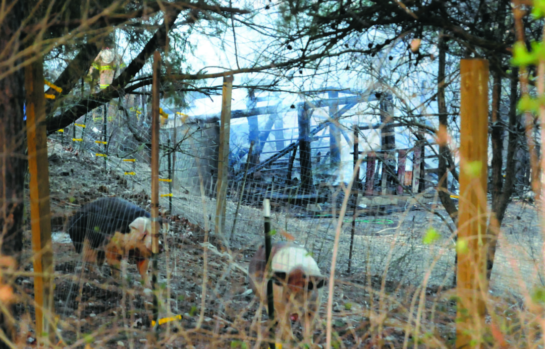 Firefighters from Bedington, Hedgesville plus tankers from Baker Heights and the US Air Force ANG respond to a fully involved barn fire Friday afternoon at 185 Gondola Drive.(Journal Photo by Ron Agnir)