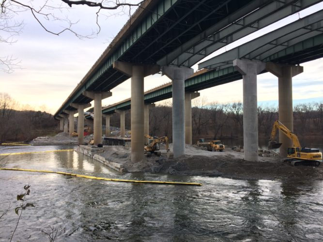Courtesy photo from Brett Hersh A strip of I-81 running over the Potomac River is shown under construction.