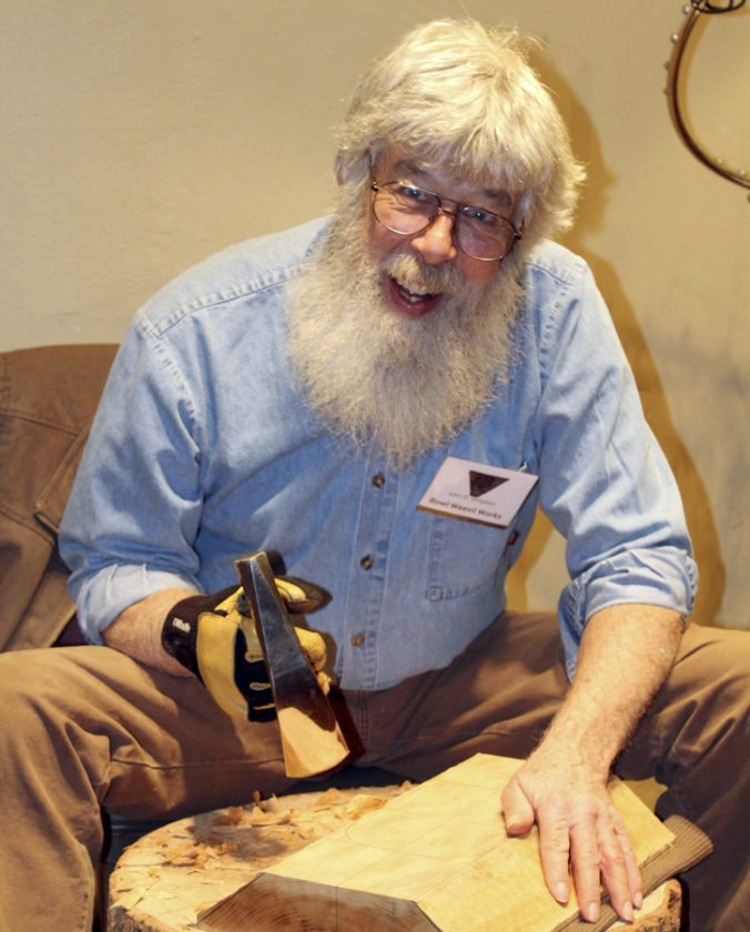 John Simpson of Bowl Weevil Works demonstrates woodworking at the 'Spirit of the Tree' show. (Submitted photo)