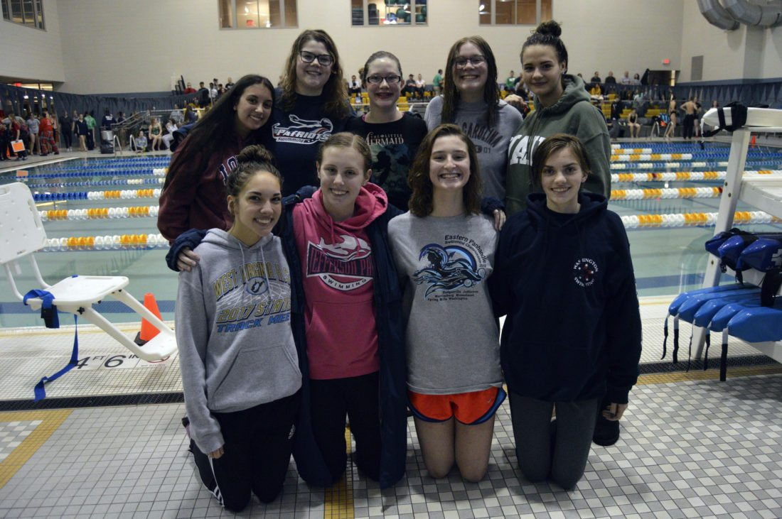 The Washington girls swim team poses after a quad-meet on Saturday at Shepherd. Pictured are Amber Simpson, Madeline Miles, Kayla Day, Emily Lewis, Morgan Skinner, Cecilia LeFebure, Olivia Wilson and Haley Burgess. Not pictured are Vivian Ingram and Hannah Reightler.