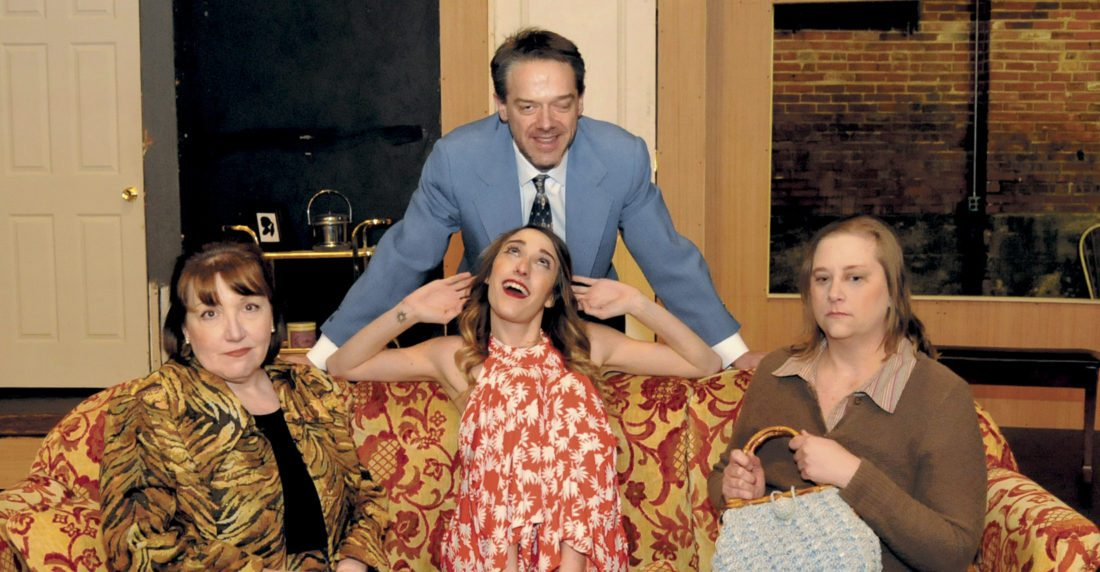 "Barney Cashman (David McCauley), Elaine Navazio (Debra Giuliano), Bobbi Michele (Taylor Miller) and Jeanette Fisher (Elyzabeth Tompas) in  Neil Simon's ""Last of the Red Hot Lovers"" at the Apollo Civic Theatre. (Journal photo by Ron Agnir)"