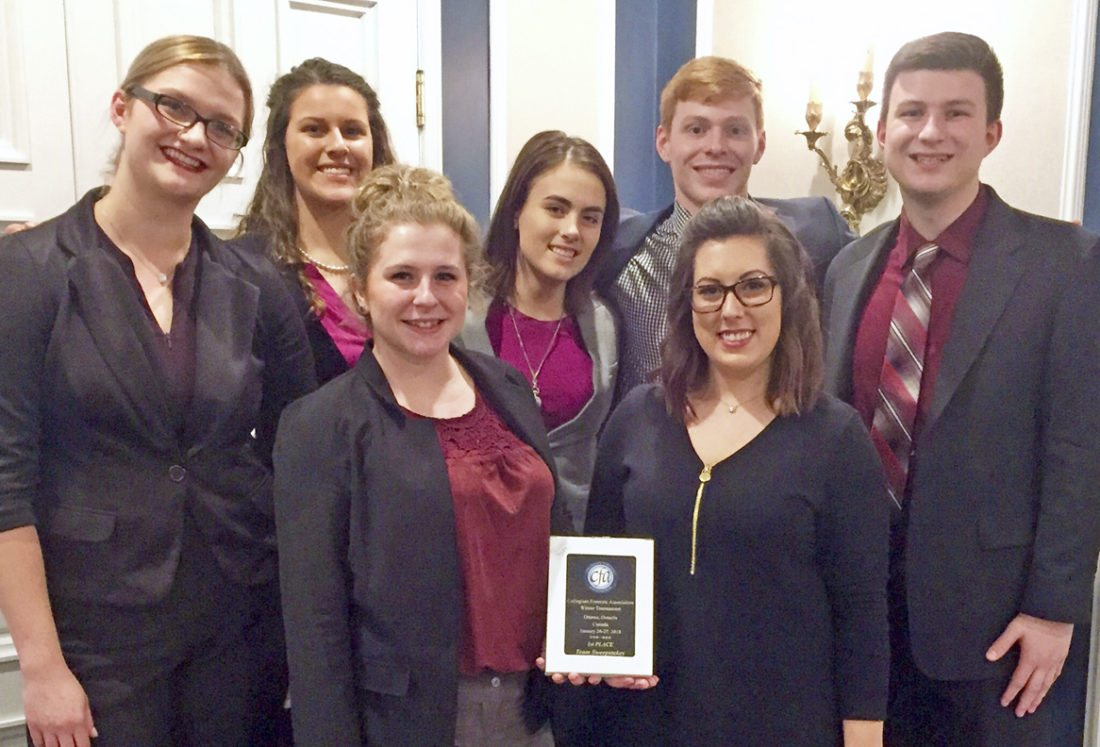 Members of the Shepherd University Debate and Forensics Team who won first place in Team Sweepstakes at the the January 26 - 27 CFA tournament in Canada are, front row from left, Katie Zakrzewski and Spencer VanHoose; back row, Lauren Duckworth, Carleigh West, Molly Lovern, Casey Feezle, and Sam Brown. (Photo courtesy of Shepherd University)