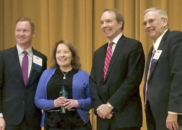 Pictured, from left, are Christian Asam, general manager and president of the Bavarian Inn and president of the JCCVB board of directors; Annette Gavin Bates, Tom Heywood, an attorney with the Bowels Rice law firm; and Frank Jorgensen, chairman West Virginia Hospitality and Travel Association. (Submitted photo)