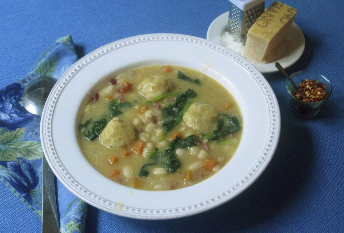 White bean soup with bread dumplings from a recipe by Sara Moulton. (AP photo)