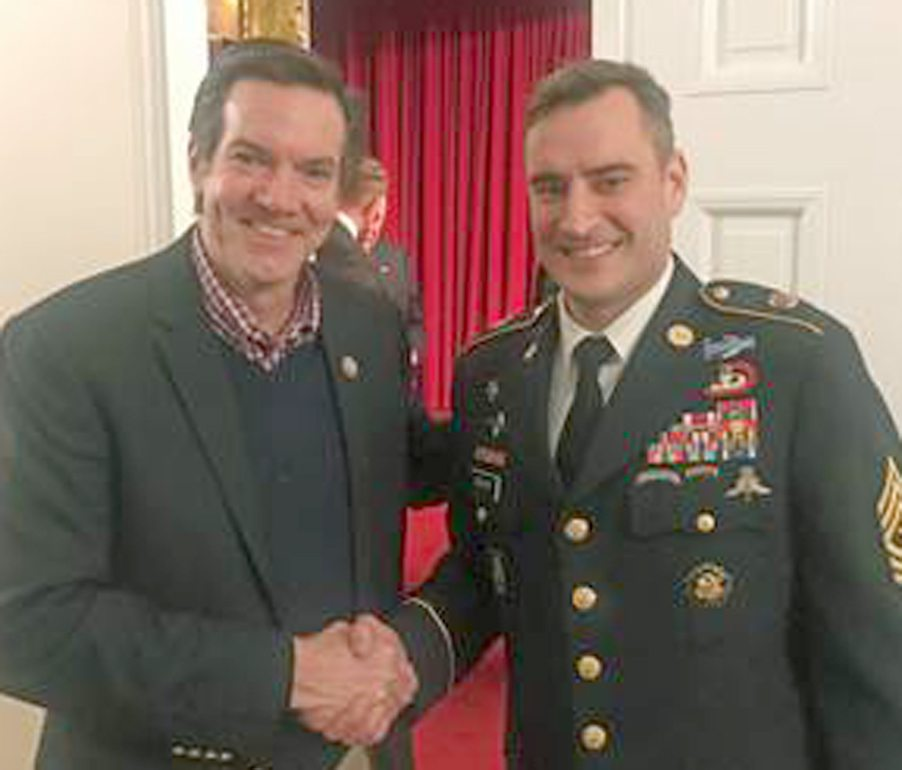 Rep. Jenkins with Army Sgt. Maj. Jason Burkhart, of Hedgesville. (Submitted photo)