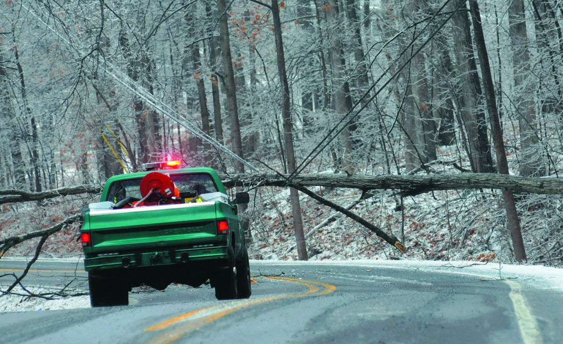 A firefighter from the South Berkeley Fire Department in a Brush Truck waits for a Power Company Crew to arrive after an ice storm causes a fallen tree to shuts down Buck Hill Road outside Gerrardstown Wednesday afternoon. (Journal Photo by Ron Agnir)