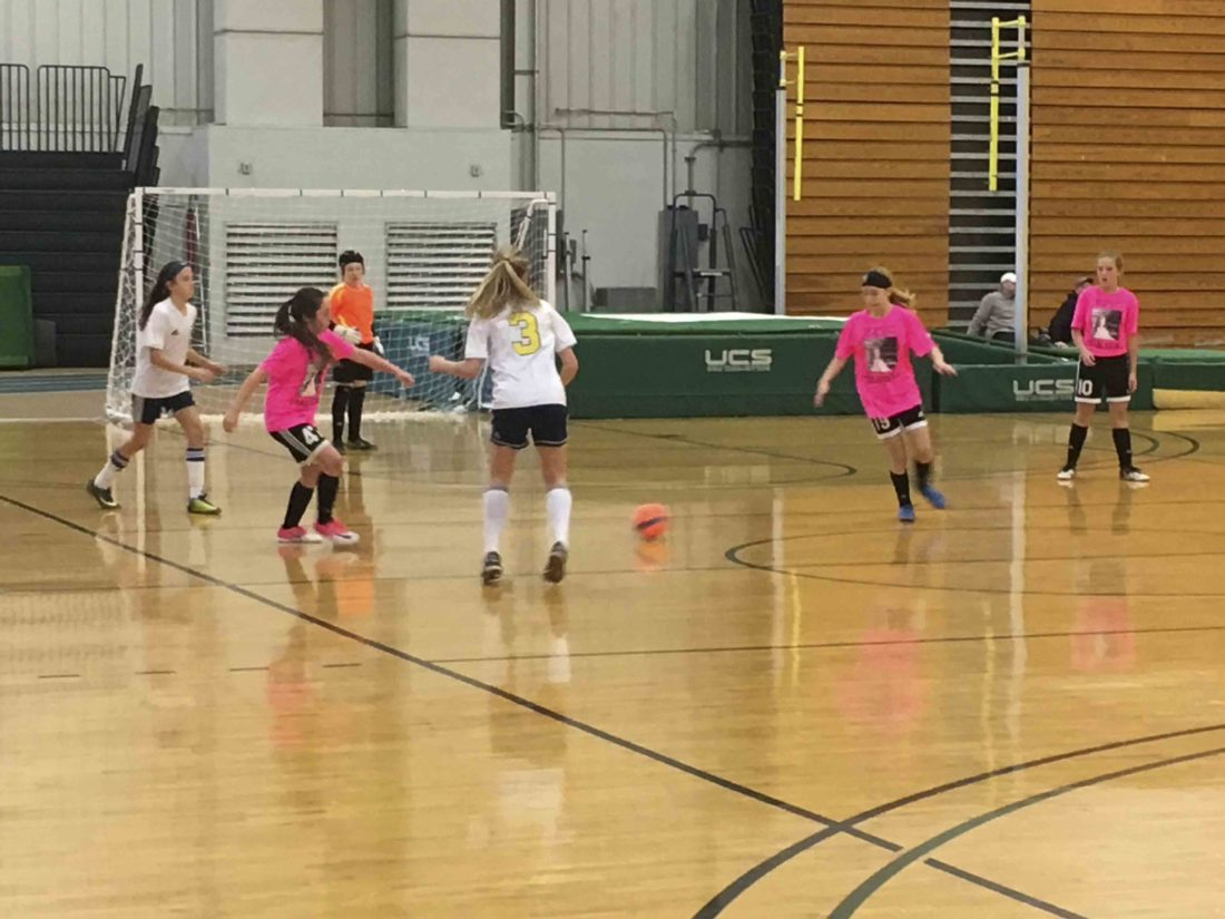 eam Emma takes on a team from the Tri-County Soccer Club during the championship game.