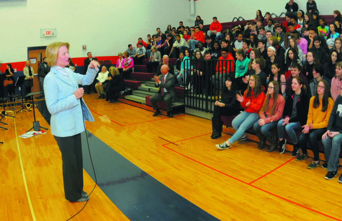 Sen. Shelley Moore Capito converses with 8th graders at Wildwood Middle School in Shenandoah Junction Monday morning. (Journal Photo by Ron Agnir)