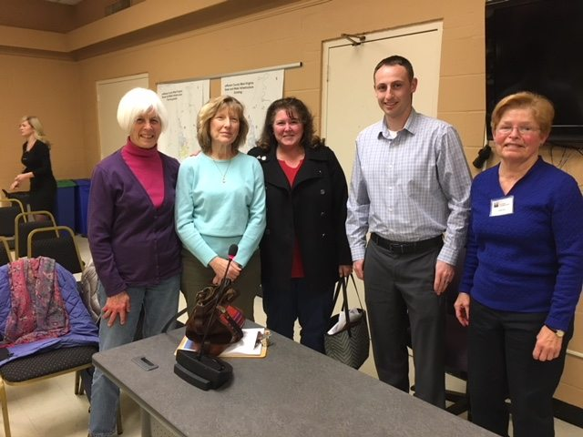 Before a recent budget forum, League of Women Voters members pose with President of the County Commission Josh Compton. From left: Carolyn Rodis; Debbie Royalty, league president; Jackie Milliron; President Compton; and Eleanor Finn, League County Commission Observer (Submitted photo)