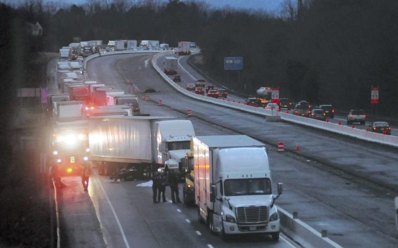 One person died Wednesday after an accident on Interstate 81 involving a motorcycle and tractor-trailer. The accident caused significant travel delays throughout the night. (Journal photo by Ron Agnir)