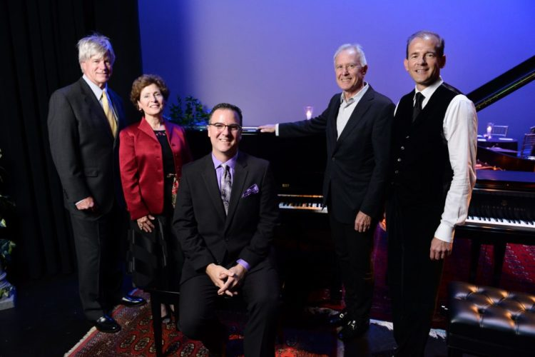 Courtesy photo Shepherd University Pictured at the October 2017 announcement of Shepherd's All-Steinway Campaign, from left, are Chuck Craft, Shepherd President Mary J.C. Hendrix, Dr. Rob Tudor, Alan Gibson, and Acting Provost Scott Beard. Gibson and Beard have donated a Steinway Boston upright piano as part of Shepherd's All-Steinway Campaign.