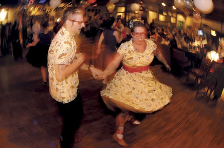 Rob and Pam Rubisch, of Hagerstown, Maryland, spin on the dance floor during the 3rd Annual Shenandoah Women's Center, Inc. Sock Hop fundraiser in Sheperdstown Friday night. (Journal photo by Ron Agnir)