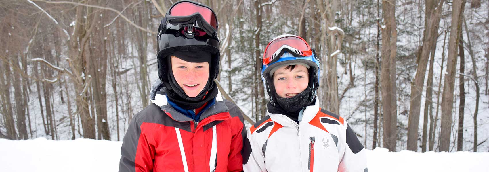 Two young skiers at Laurel Mountain