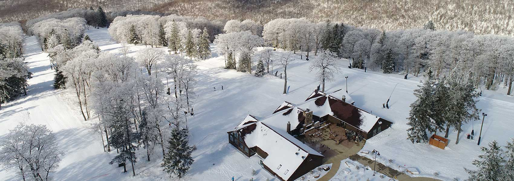 Aerial view of the Laurel Mountain lodge and slopes