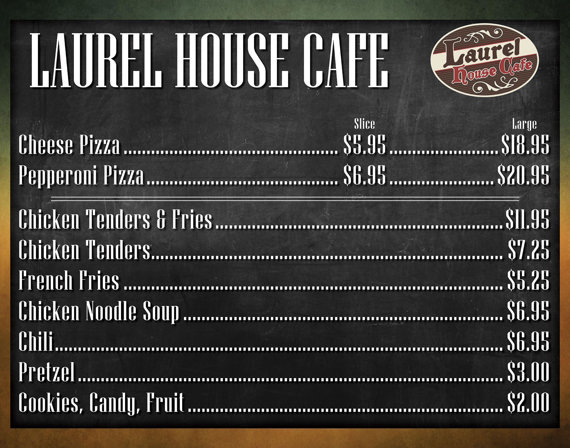 Laurel House Cafe Menu