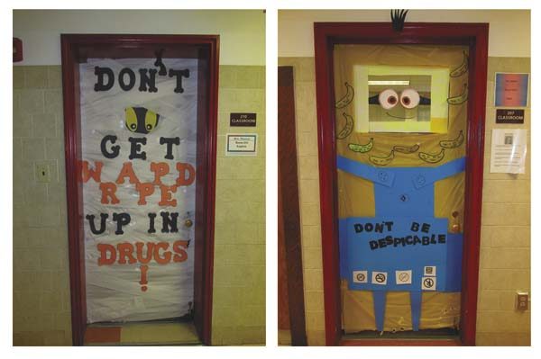classroom door decorations for halloween. Two Of The Decorated Halloween Anti-drug Classroom Doors Are Shown. (Photo Submitted) Door Decorations For I