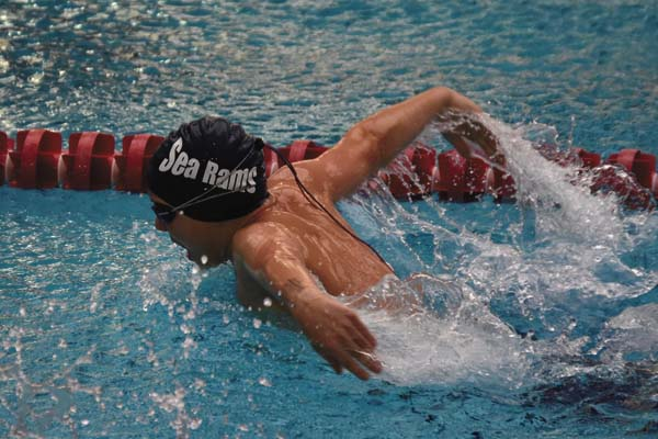 Daniel Dylong of the Amsterdam Sea Rams swim team competes during the Pilgrims Pride meet at Rensselaer Polytechnic Institute in Troy on Nov. 12. (Photo contributed by Sarah Dzikowicz)
