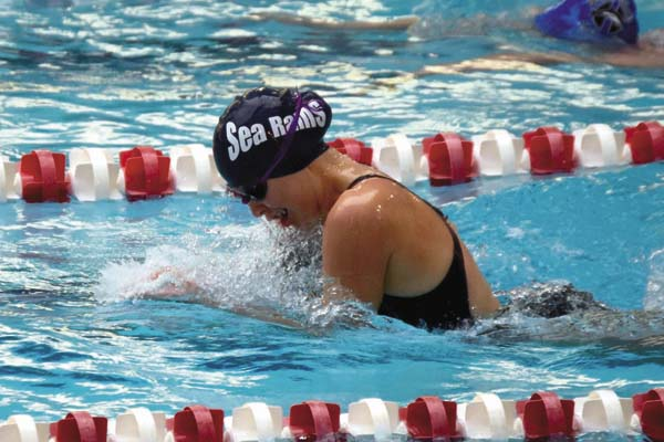 Kayla Dzikowicz of the Amsterdam Sea Rams swim team competes during the Pilgrims Pride meet at Rensselaer Polytechnic Institute in Troy on Nov. 12. (Photo contributed by Sarah Dzikowicz)
