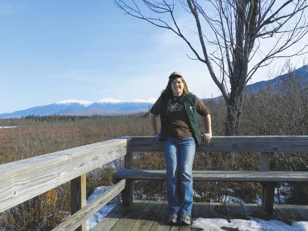 Pam Hunt takes a moment from watching birds at Pondicherry, New Hampshire. (Photo courtesy of Pam Hunt)