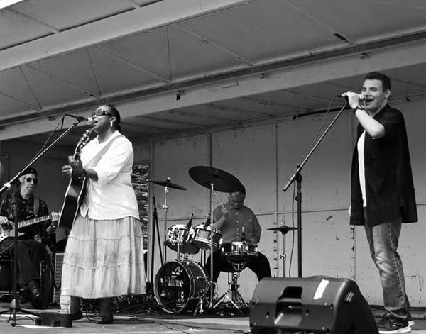 July 2016 at Paul Nigra Center Michelle King with Andrew Carpenter, far right, Nick Robinson, bass player and musical advisor, and drummer David LaGrange.