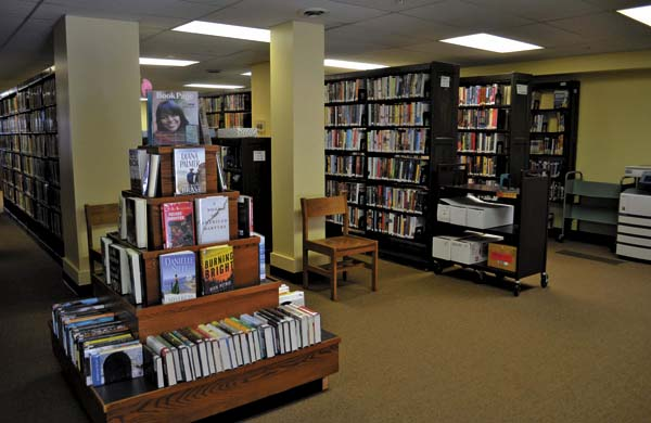 The ficiton and new-arrivals section at the Gloversville Public Library's temporary location at the Fulton County CRG. (The Leader-Herald/Kerry Minor)