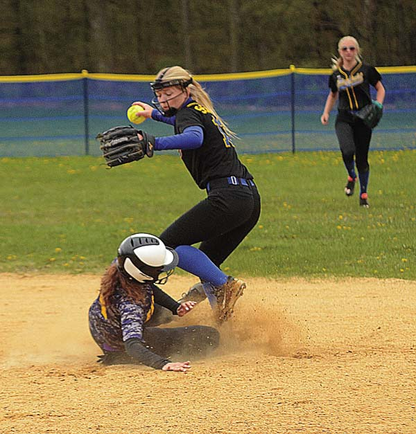 Mayfield second baseman Sydney Sheldon avoids the slide of Duanesburg's Sophie Loukides as she breaks up the double-play attempt during Western Athletic Conference play Wednesday at Mayfield High School. (The Leader-Herald/James A. Ellis)