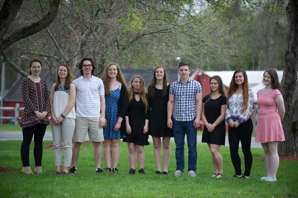 Pictured are the top 10 Galway students. From left: Rachel Reichard, Emily South, Jacob Thompson, Alexis Gould, Marrina Messak, Erica Culbert, Timothy Webb-Horvath, Kayla Aschmutat, Jennifer Rumsey and Brooke Martin. (Photo submitted)