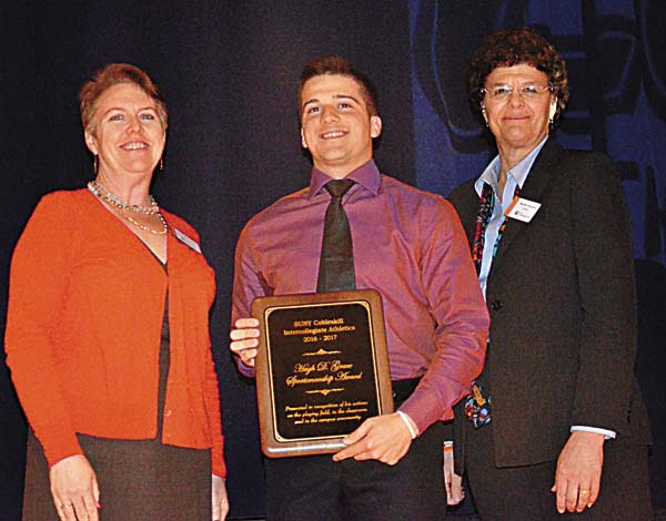 Amsterdam graduate Anthony Yevoli was named the 2017 recipient of the SUNY Cobleskill athletic program's Hugh D. Grace Award for Sportsmanship. The award was presented to Yevoli at the college's annual Athletic Awards Convocation. From left,  SUNY Cobleskill VP of Student Affairs Dr. Anne Hopkins Gross, Yevoli and SUNY Cobleskill President Dr. Marion Terenzio. (Photo submitted)