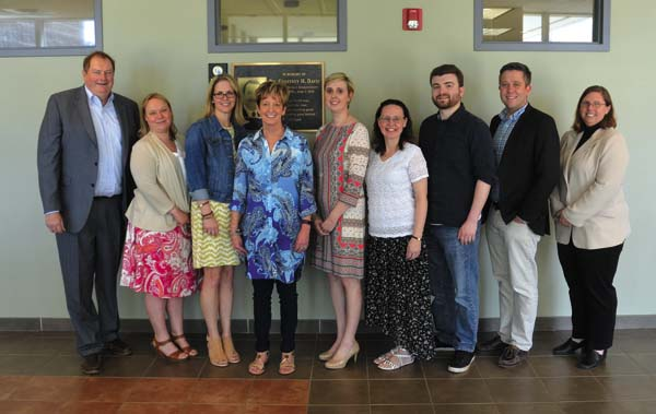 The HFM BOCES SLS Collaborative Teacher of the Year Award was presented to six Gloversville Middle School teachers. Pictured from left: state Assemblyman Marc Butler, Holly Cook, Fran LeFever, Liz McGregor, Megan Hallenbeck (librarian), Michele Zavadil, Mike Atkinson, Christian Rohrs and Sen. James Tedisco's representative, Jennifer Conkling-Donovan (The Leader-Herald/Bill Trojan)