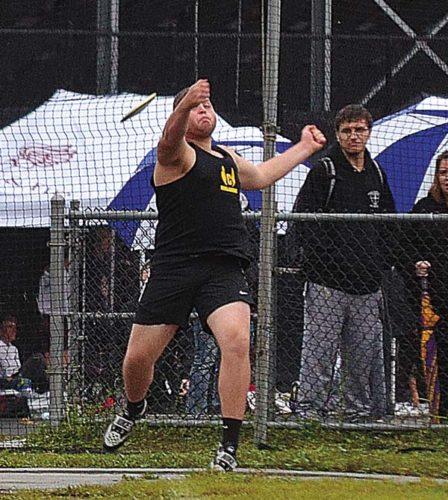 The Leader-Herald/James A. Ellis Canajoharie's Mike Hartlieb releases the discus during the championship flight at the Section II Group 4 championships Thursday at Fonda-Fultonville High School.