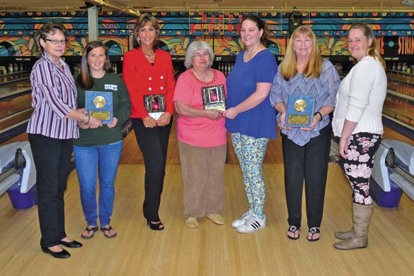 The Johnstown USBC Women's Bowling Association hosted its annual city banquet Thursday at Perry Lanes in Johnstown. Plaques and money were awarded to the winners of the city tournament. Pictured, from left, are Connie Hladik (association manager), Tricia Hillock (most improved,  35-pin increase), Jackie Gardner (high series, 707), Mona Cole (association president), Amanda Borden (high average, 203), Patty Colson (high game, 279) and Nikki Durrin (Lucille Solar Adult Scholarship, $300). Money and plaques that were not able to be picked up Thursday may be claimed at the association meeting June 1 at 6:30 p.m. at Perry Lanes. (The Leader-Herald/Bill Trojan)