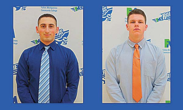 Richard Umholtz, left, and Ryan McMamara, right, of the Fulton-Montgomery Community College baseball team, were named to the 2017 Mountain Valley All-Conference team. (Photo submitted)
