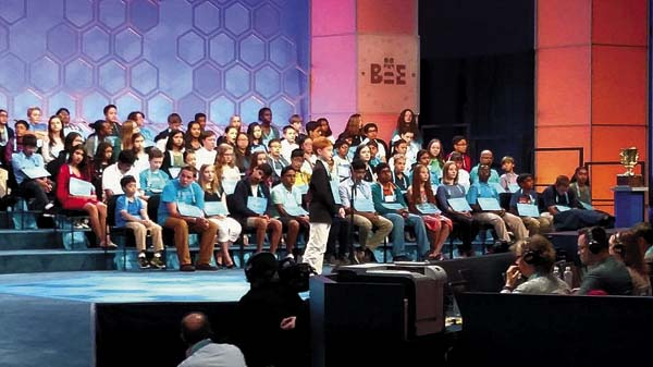 Collin Shea of Mayfield competes in Round 2 on stage at the Scripps National Spelling Bee on Wednesday