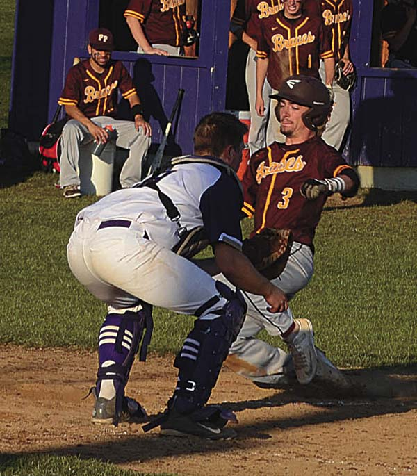 Fonda-Fultonville's Dan Parslow (3) slides into home during an April 27 non-league game at Johnstown High School. Johnstown catcher Charlie Osborne awaits the throw. Parslow recently was named the Western Athletic Conference Hudson Division Most Valuable Player. (The Leader-Herald/James A. Ellis)