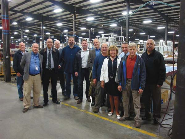 Members of the Fulton County Center for Regional Growth and community leaders toured Pioneer Window Manufacturing Tuesday. (Photo submitted)