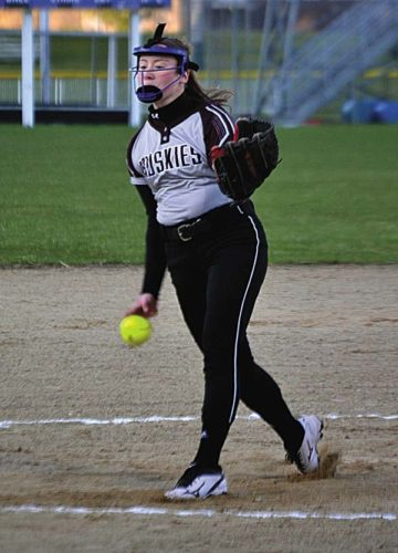 Gloversville's Jen Vickery throws to the plate during an April 18 Foothills game against Johnstown at Johnstown High School. Vickery was named a second-team Foothills Council softball all-star. (The Leader-Herald/Paul Wager)