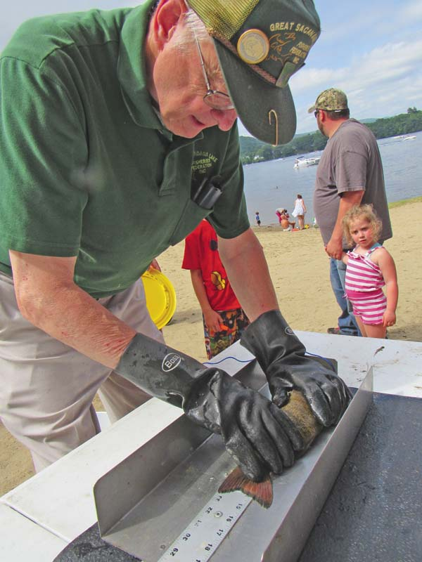 Bob Nielsen of Wells measures a bass that was caught by Harlee Gavin of Corinth. (The Leader-Herald/Eric Retzlaff)