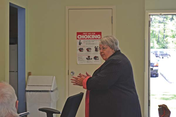 Sharlene LeRoy gives a presenation on the proposed switchover of the Gloversville Housing Authority from a Section 9 public housing structure to a section 8 voucher structure on Thursday. (The Leader-Herald/Kerry Minor)