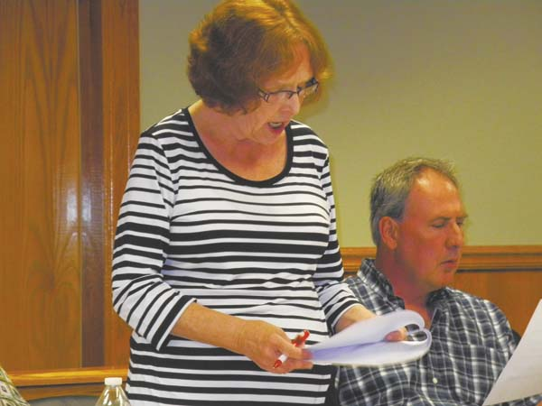 Johnstown 3rd Ward Councilwoman Helen Martin reads a resolution allowing the city to endorse a St. John's Episcopal Church grant application to the state Monday night at City Hall. To the right is 4th Ward Councilman Timothy Cellary. (The Leader-Herald/Michael Anich)