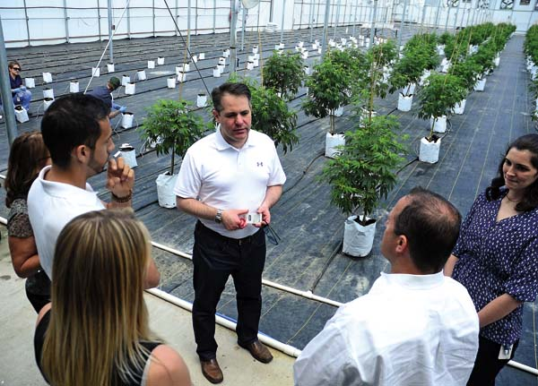 Ari Hoffnung, center in white shirt,  CEO, Vireo Health of NY, LLC provides narrative during a tour of the newly constructed greenhouse on the property during the CIREB Marketing Symposium at the Tryon Technology Park in Perth on Wednesday. (The Leader-Herald/Bill Trojan)