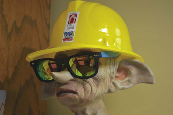 Dobby, one of the stars of the Harry Porter book and film series, is shown sporting the new summer giveaway helmet from the Gloversville Public Library on Thursday. (The Leader-Herald/Kerry Minor)