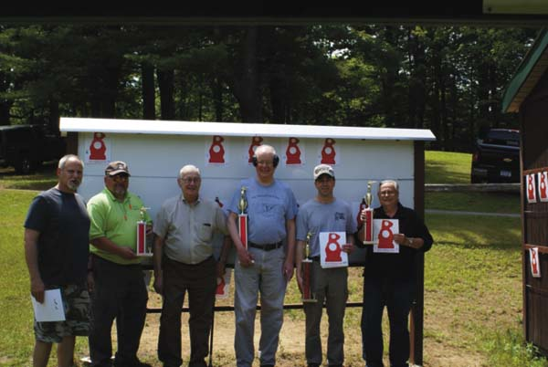 Some of the Rifleman's Challenge competitors pause for a photo at Pine Tree Rifle Club in Johnstown. Pictured, from left, are Lance Hicks, Ken Benton (fifth place), Dr. Richard Maretzo (IBS world record holder), Harold Miller (champion), Blaine McRay (second place), and John DelSavio (third place). Missing from the photo is Mark Duesler (fourth place). (Photo contributed by Harold Miller)