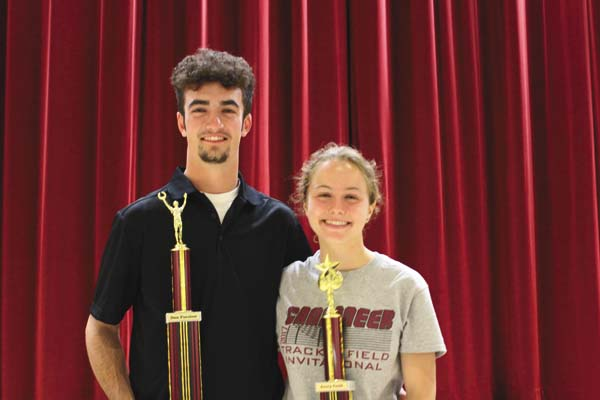 Dan Parslow, left, was named the Fonda-Fultonville Central School Male Athlete of the Year, while Avery Cook was named the Female Athlete of the Year at the FFCS spring sports awards night June 7 in the high school auditorium. Both were also among those honored as triple threat athletes, who are student-athletes that participated and completed three seasons of a high school sport for the 2016-17 school year. (Photo submitted)