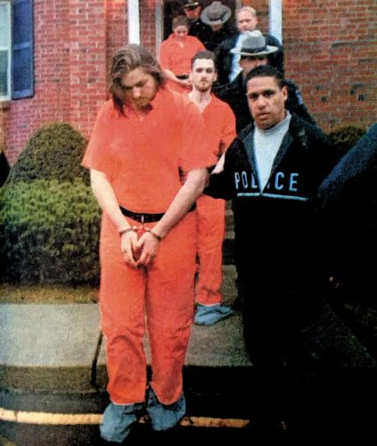 File photo New York State police investigator Israel Toro escorts suspects in the slaying of John Morgan in March, 1998. From front are Theodore J. Cook, Lucas Whaley and Amanda C. Dzierson. out from the Fonda Police headfquarters.  All three were charged with murder.