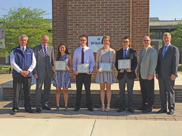 Photo submitted From left are chamber President/CEO Mark Kilmer, Jack Scott, Scholarship Award recipients Molly Lambo of Mayfield, Alec Mahon of Fonda-Fultonville, Julie Capito of Broadalbin-Perth and Harrison Harper of Mayfield, Dustin Swanger and Larry Kelly. (Photo submitted)