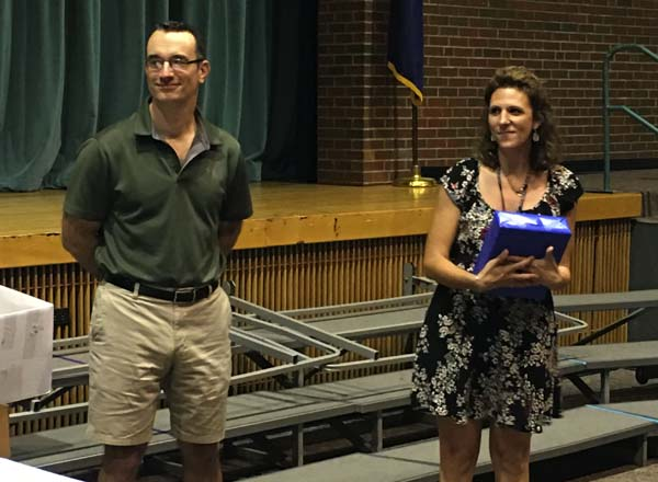 Kelly DiNatale, right, a middle school science teacher, receives the Outstanding Patriot Award: Teacher. She is pictured with Broadalbin-Perth Board of Education President Ed Szumowski. (Photo submitted)