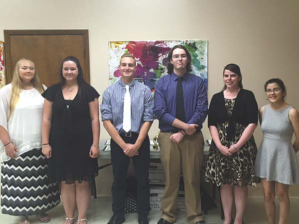 """Students recognized by the Fulton County Youth Bureau at its annual Lead by Example event are, from left, Northville seniors Jaclyn VanNostrand and Catherine Millington;  Broadalbin-Perth senior John """"JP""""  Person; Gloversville seniors Christopher Smouse and Brianna Quackenbush; and Johnstown senior Sarah Martelle. Other honorees not shown are Mayfield senior Molly Lambo and  Oppenheim-Ephratah-St. Johnsville senior Jeffrey Baker. (Photo submitted)"""