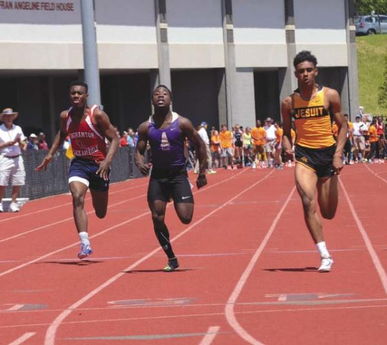 From left, Binghamton's Matthew McLaughlin, Amsterdam's Kevon Boucaud and McQuaid's Noah Williams race during the Division I 100-meter preliminaries at the New York State Public High School Athletic Association Track and Field Championships at Union-Endicott High School in Endicott on June 9. Boucaud was named a first-team Foothills Council all-star in the 100 meters, 200 meters and long jump. (The Leader-Herald/James A. Ellis)
