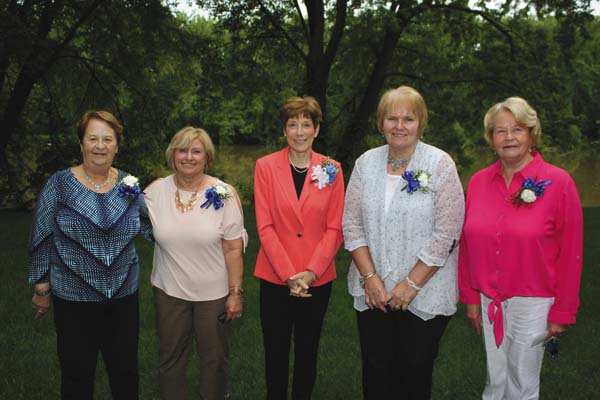 Pictured, from left, are St. Mary's new auxiliary officers Andrea Clare, assistant secretary; Marcia Russo, assistant treasurer; Linda Estep, president; Kathleen Smith, secretary; and Paula Phillips, treasurer/financial secretary.  Missing from the photo are Linda Naple, vice president and Lorrie Tesiero, historian. (Photo submitted)